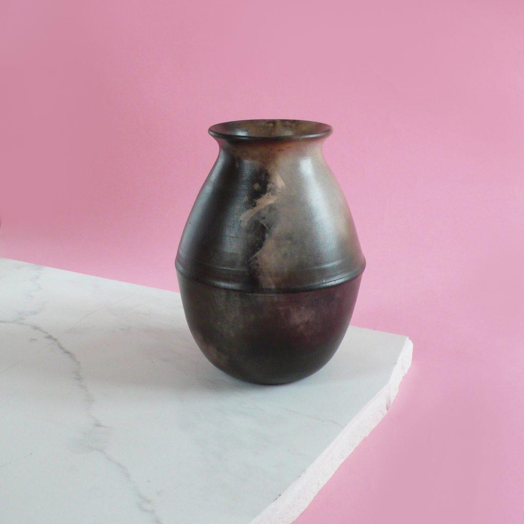 smoke fired ridged vase_square
